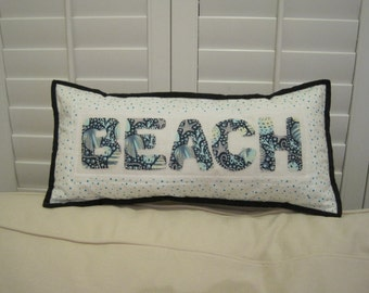 Pillow - Beach - Patchwork, appliqued and quilted