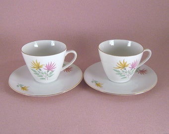 Cup and Saucer Sets (2), Seltmann Weiden,  K Bavaria, Vintage, China, Made in Germany