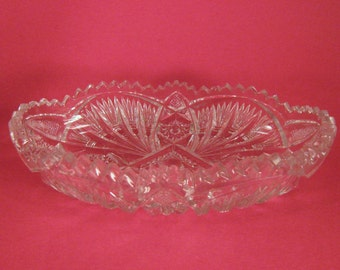 Imperial Nucut Clear Glass Sawtooth Multi Design Celery Dish