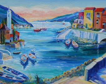 Riviera Fishing Village, Italian Riviera Oil, Fishing Boats, Europa Seaside,36,24 in Dan Leasure Original Oil