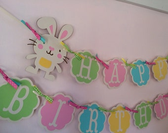 Bunny Birthday Banner/ Birthday Party Decor/ Customized Birthday Banner/ 1st Birthday/ Bunny Garland/ Name Banner/ Pink/ Blue/ Yellow/ Green