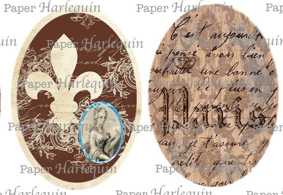 Paris Vintage Style Royal French Digital Collage Oval Tags Browns and Blues Scrapbook Altered Art