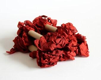 5 m - 5.4 yards - CHESTNUT Shabby Wrinkled Ribbon - Crinkled Seam Binding Ribbon