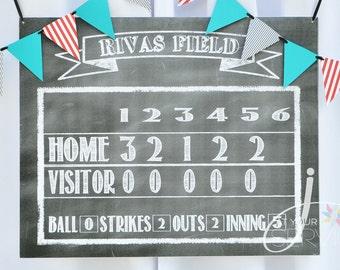 Baseball/Softball Faux Chalkboard Scoreboard Printable (Digital File)