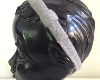 50% OFF CLEARANCE-Recycled Cashmere Headband: Grey with a Grey Bow