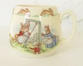 Vintage Bunnykins Doulton Mug Earthenware Swing Skip