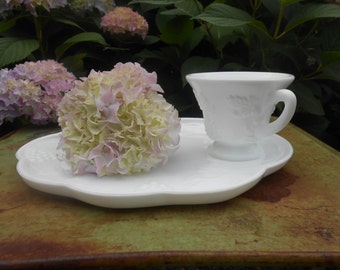 Vintage Milk Glass Luncheon Plate Set