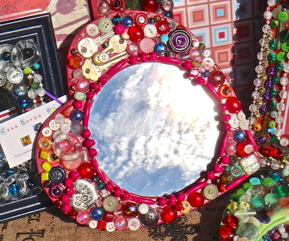 Heart Mirror Boho Pink Heart Beaded Collage Frame Love Beaded Pink Red Frame Artsy Heart Decor Bright Colorful Funky Furniture Bohemian