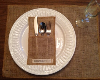 Burlap silverware pouch with tag everythingburlap