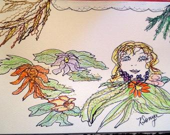 Flower Girl Card, Sewn Art Card, Hand Drawn Original Sewn Card, Fiber Art Card, Garden Girl, Birthday Card, Kathleen Leasure, FromGlenToGlen