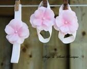 Dainty Hydrangea Blossoms Swarovski pearl flower Headband barefoot sandals shoes Newborn Baby Gift Perfect Photo shoot prop