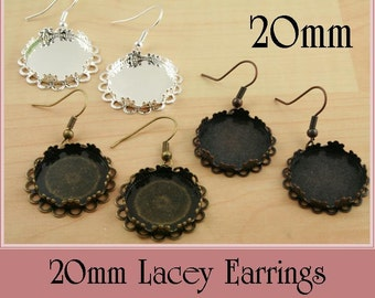 10 Scallop Vintage Lacey Edge Earring Dangles.  20mm. ATTACHED Earring Wires - Blanks- Makes 5 pair. Glass and Seals are Optional, 4 Colors
