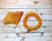 Vintage Stretch Bracelet Amber Yellow Orange Beads Faux 1990s