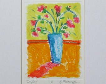 Flower Pint Art Monoprint Hand Pulled One of a Kind Flowers in Blue Vase Red Roses