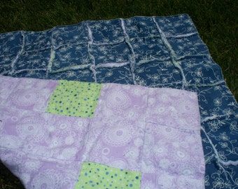 "28"" X 43"" Baby or Lap Quilt - Denim and Flannel Rag Quilt - perfect for travel, stadiums, outside or for baby."