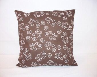 "12"" x 12"" Cocoa and Off White Swirl Print Decorative Pillow Cover"