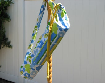 Yoga Bag - Blue Yellow Green White Flowers and Stripes with 2 straps and a large zippered pocket