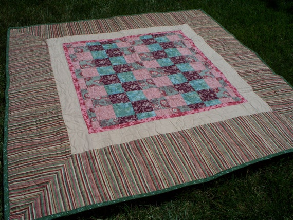 """58"""" x 58"""" Checker Board Quilt in Greens and Pinks with Burgundy Back"""