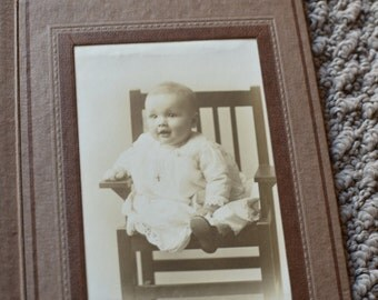 Vintage Baby Portrait in Holder Photograph Antique