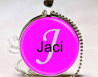 Jaci Name Pendant Name Monogram Handcrafted  Necklace Pendant (NPD3114)
