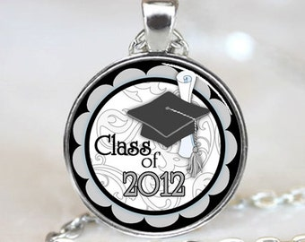 Class of 2012 Graduation Cap and Diploma  Pendant,  Photo Necklace, Silver Plated,  (PD0208)