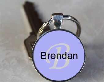 Brendan Name Monogram Handcrafted Glass Dome Keychain (GDNKC0366)
