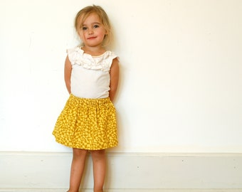 Girls Harvest Skirt / Mustard Gold Geometric Pattern  / Fine Wale Corduroy / Ready to Ship / 12 months to 7 years