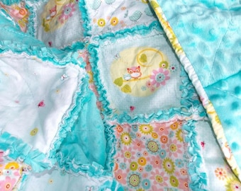 Baby Girl Rag Quilt Blanket, Teal, Pink, Owls, Flannel, Quiltsy Handmade