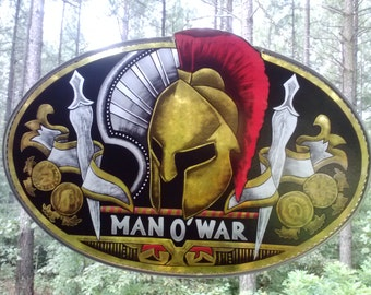 MAN OF WAR A J Fernandez Cigar Logo in stained glass