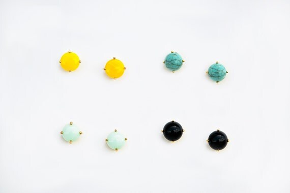 The Louise Stud - Mint and gold plated 4 prong stud earrings