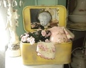 SALE....Ooak Upcycled Vintage Suitcase With Cherub, Victorian, Chippy,French, Shabby Chic, French Farmhouse,Eclectic