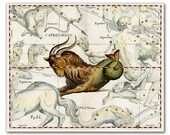 Zodiac Sign Capricorn, vintage celestial map printed on Parchment paper.  Buy 3 and get 1 FREE