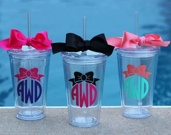 7 Personalized Bow Monogram Acrylic Tumblers, Great Bridesmaid Gifts