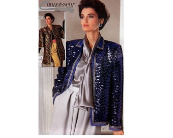 Simplicity 7214 Sewing Pattern 1980s Evening Jacket Collarless Formal Fancy Duster Coat Loose Fit Open Front Designer Inspired Uncut Bust 34