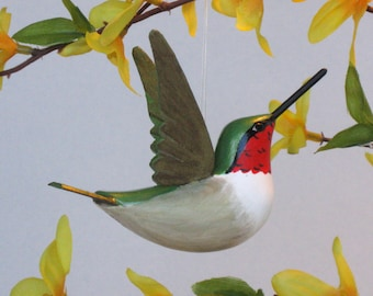 Hummingbird handmade sculpted ornament bird decoration