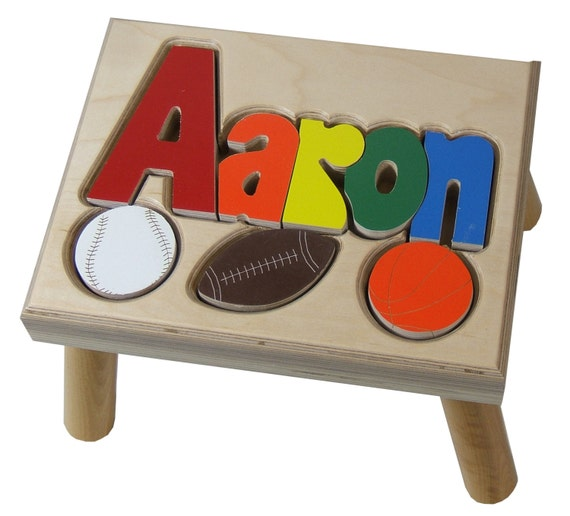 Items Similar To Free Shipping Sports Name Puzzle Stool