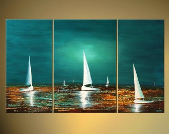 "Seascape Painting 50"" x 30"" Textured Original Contemporary Sailboats Abstract Acrylic Art by Osnat - MADE-TO-ORDER"