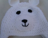 Crocheted White Polar Bear Baby Beanie MADE TO ORDER
