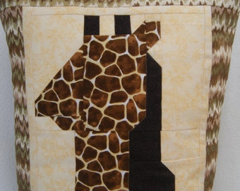 "OOAK Giraffe Quilted Pillow Cover - 14"" x 28"" - Handmade by Me"