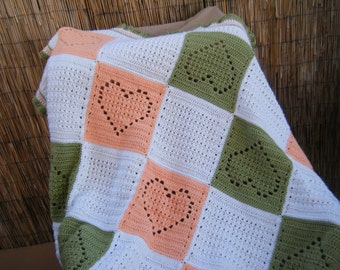 Large Peach and Green Heart Crocheted Baby Blanket