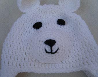Crocheted White Polar Bear Baby Beanie MADE TO ORDER