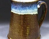 Tenmoku Mug with Blue Highlights by Haywain Pottery