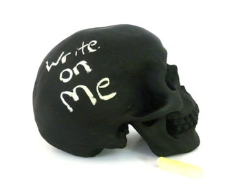 chalkboard skull, cool gift, desk accessories, faux taxidermy, skulls, office decor, home decor