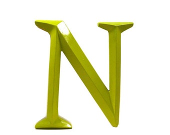 letter N, typography, home decor, upcycled decor, avocado green, letters, modern