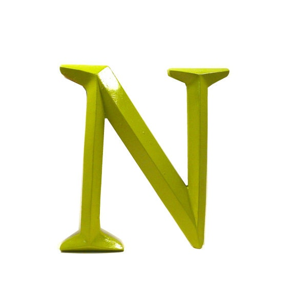 Letter n typography home decor upcycled decor avocado by for Letter n decorations