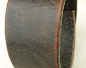 Mens Black & Brown Leather Cuff Distressed Tough Bracelet with Snap BRN-112-1