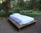 Rustic Wood and Steel Platform Bed, King size 90 inches wide