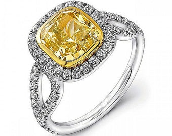 Fancy Yellow Cushion Cut Halo Diamond Engagement Ring 2.74 Carat 18K White Gold