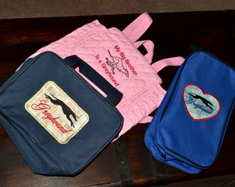 Greyhound Embroidered backpack and zippered pouches