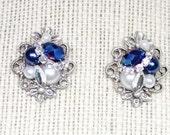 Sapphire Stud Earrings- Pearl and Rhinestone Studs- Cobalt blue Earrings- Blue Studs- Blue Bridal Earrings- Bridesmaid earrings-Brass boheme